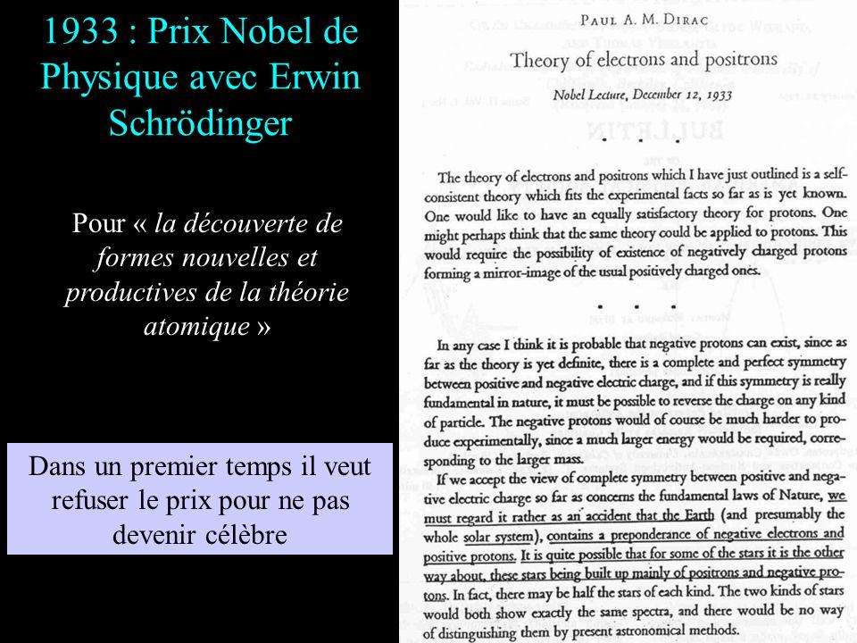 1932 : Professeur Lucassien Dirac est nommé à 30 ans « Professeur Lucasien » à l'université de Cambridge, chaire quoccupa Isaac Newton Dirac occupera
