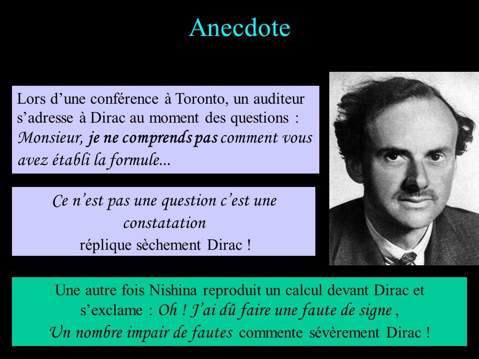 Quelques grands apports Statistique de Fermi-Dirac (1926) Introduction du concept dantimatière (1931) Evolution des constantes universelles, monopôles