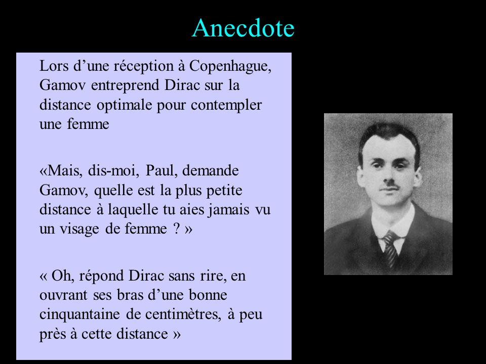Anecdote Lors dune conférence à Toronto, un auditeur sadresse à Dirac au moment des questions : Monsieur, je ne comprends pas comment vous avez établi