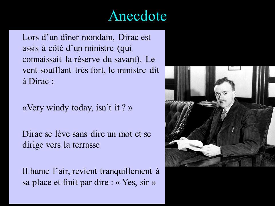 Anecdote Lors dune réception à Copenhague, Gamov entreprend Dirac sur la distance optimale pour contempler une femme «Mais, dis-moi, Paul, demande Gam