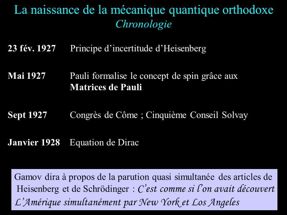 29 juil. 1925 Mécanique des matrices de Heisenberg 7 nov. 1925Mécanique quantique (q-nombre) de Dirac 16 nov. 1925 Born, Heisenberg et Jordan bases co