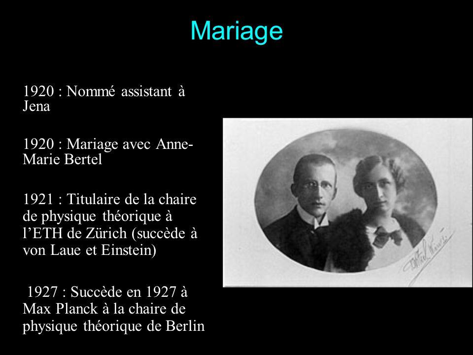 1910 : Schrödinger devient lassistant du professeur Exner 1911 : Il est assistant de physique expérimentale à luniversité de Vienne 1914 : Il obtient
