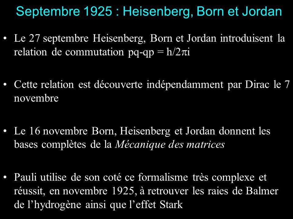 Juillet 1925 : introduction de la Mécanique Quantique Le 29 juillet Heisenberg soumet un article Sur la ré interprétation quantique des relations ciné