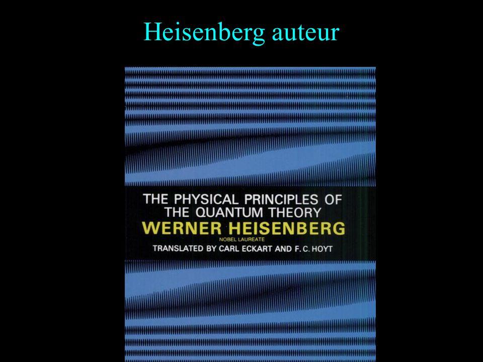 Aperçu des travaux 1925 : Heisenberg développe la première formalisation de la mécanique quantique, en même temps qu'Erwin Schrödinger : Il introduit
