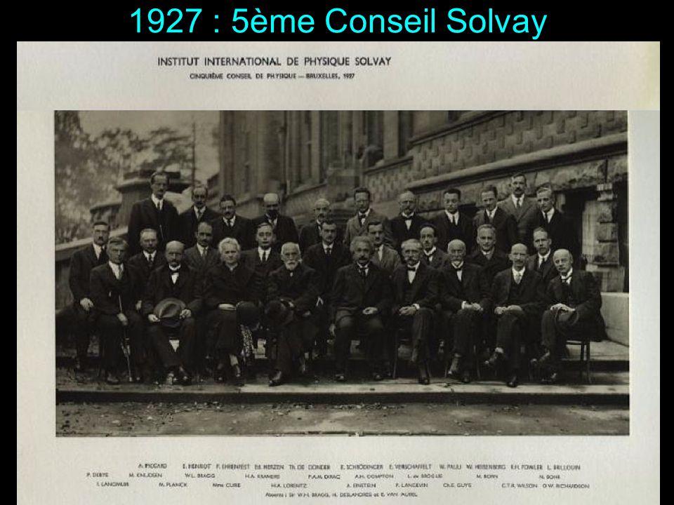 1927 : 5ème Conseil Solvay Sont présents : Langmuir, Planck, Marie Curie, Lorentz, Einstein, Langevin, Guye, Wilson, Richardson, Debye, Knudsen, W. L.