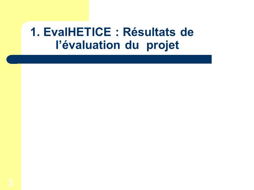 3 1. EvalHETICE : Résultats de lévaluation du projet