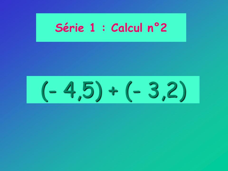 (- 4,5) + (- 3,2) Série 1 : Calcul n°2