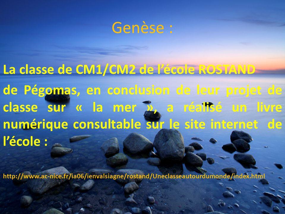 Genèse : La classe de CM1/CM2 de lécole ROSTAND de Pégomas, en conclusion de leur projet de classe sur « la mer », a réalisé un livre numérique consultable sur le site internet de lécole : http://www.ac-nice.fr/ia06/ienvalsiagne/rostand/Uneclasseautourdumonde/index.html