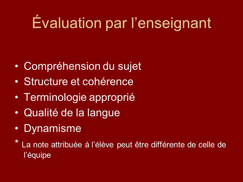 Évaluation par lenseignant Compréhension du sujet Structure et cohérence Terminologie approprié Qualité de la langue Dynamisme * La note attribuée à l