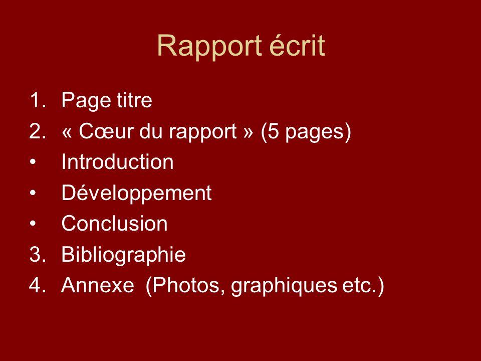 Rapport écrit 1.Page titre 2.« Cœur du rapport » (5 pages) Introduction Développement Conclusion 3.Bibliographie 4.Annexe (Photos, graphiques etc.)