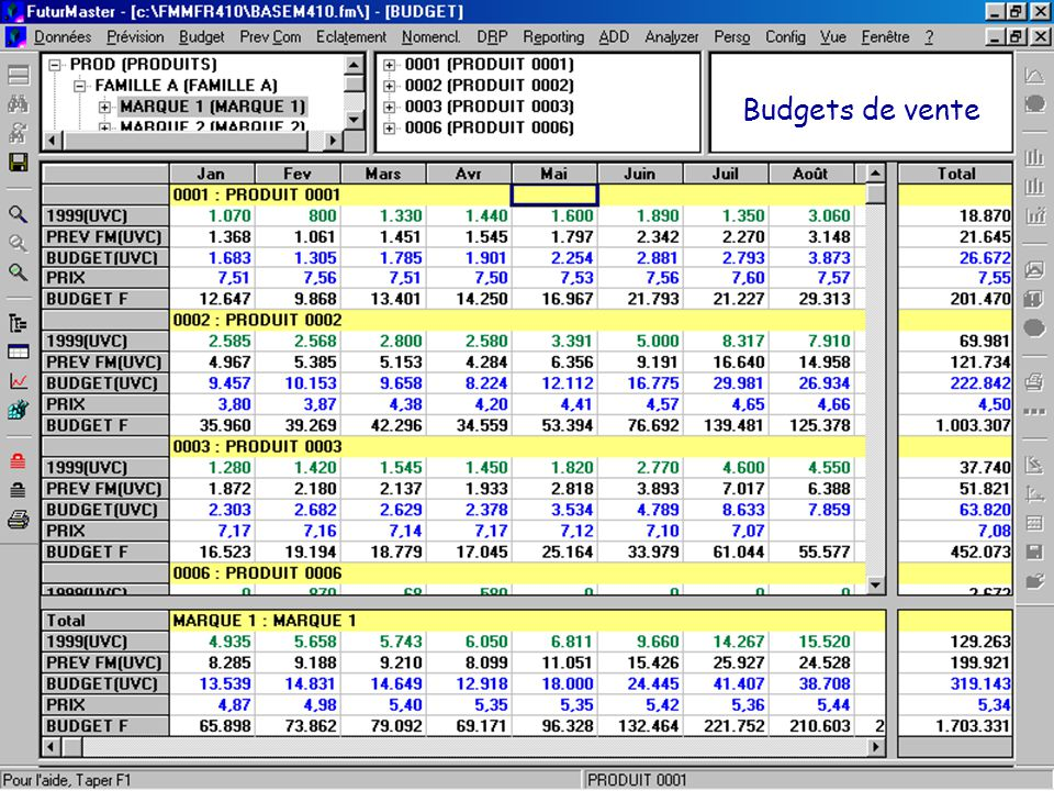 © 2001 FuturMaster Budgets de vente