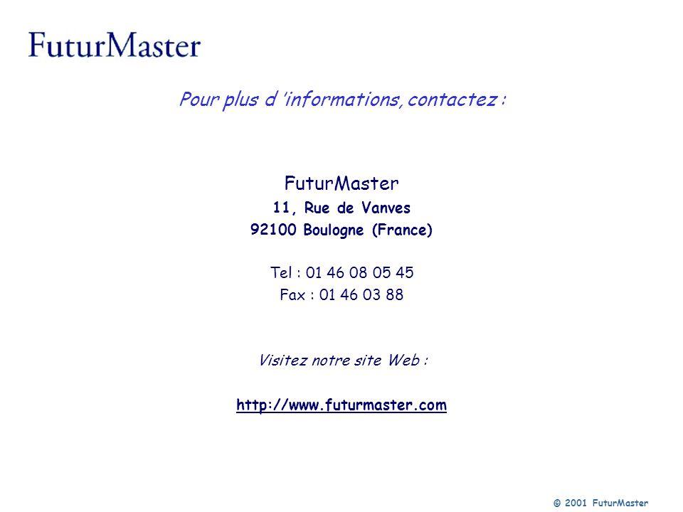 © 2001 FuturMaster Pour plus d informations, contactez : FuturMaster 11, Rue de Vanves 92100 Boulogne (France) Tel : 01 46 08 05 45 Fax : 01 46 03 88