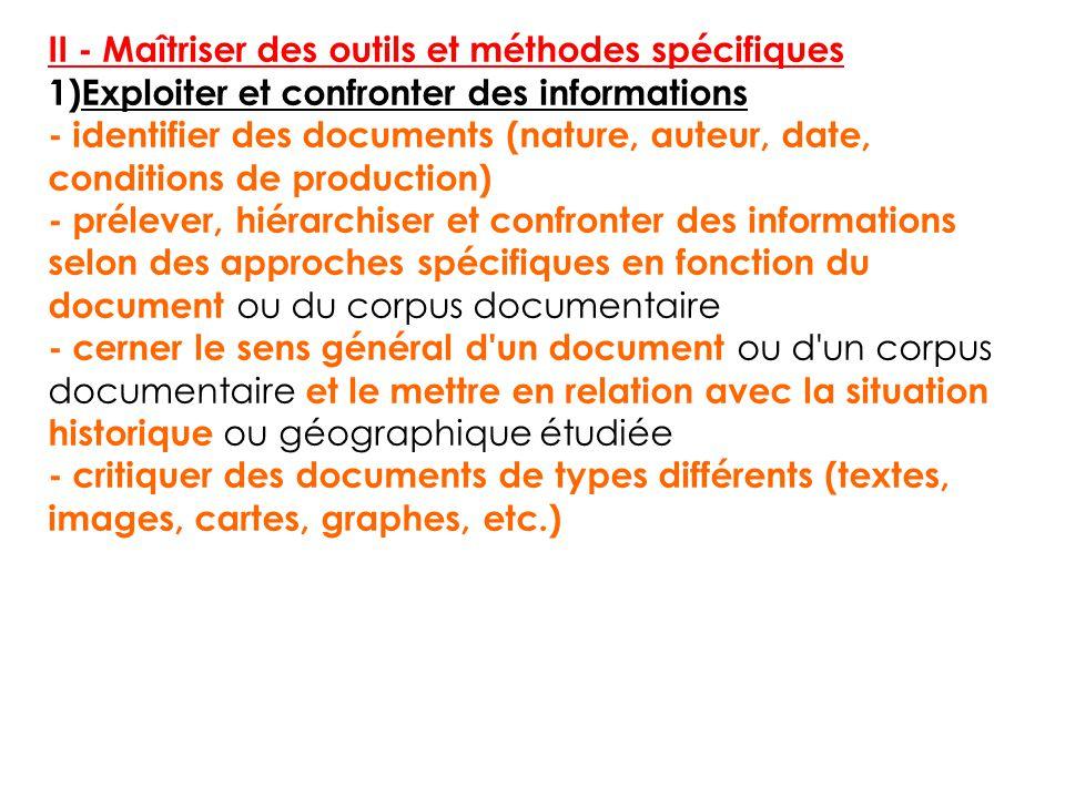 II - Maîtriser des outils et méthodes spécifiques 1)Exploiter et confronter des informations - identifier des documents (nature, auteur, date, conditi