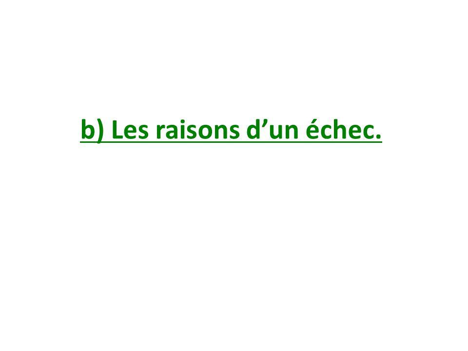 b) Les raisons dun échec.