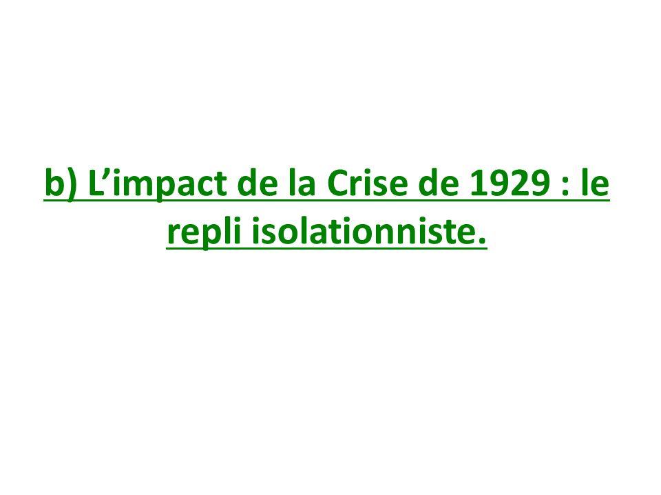 b) Limpact de la Crise de 1929 : le repli isolationniste.