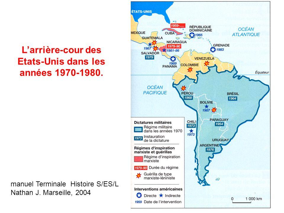 Larrière-cour des Etats-Unis dans les années 1970-1980. manuel Terminale Histoire S/ES/L Nathan J. Marseille, 2004