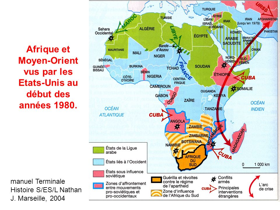 Afrique et Moyen-Orient vus par les Etats-Unis au début des années 1980. manuel Terminale Histoire S/ES/L Nathan J. Marseille, 2004