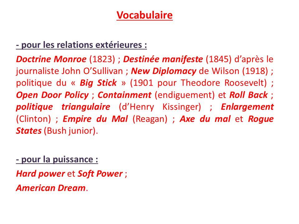 Vocabulaire - pour les relations extérieures : Doctrine Monroe (1823) ; Destinée manifeste (1845) daprès le journaliste John OSullivan ; New Diplomacy