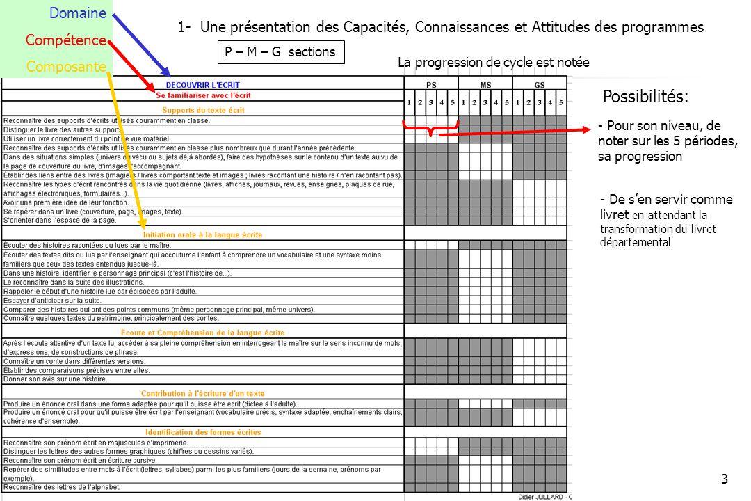 novembre 2008 - DJ3 1- Une présentation des Capacités, Connaissances et Attitudes des programmes P – M – G sections Domaine Compétence Composante Possibilités: - Pour son niveau, de noter sur les 5 périodes, sa progression La progression de cycle est notée - De sen servir comme livret en attendant la transformation du livret départemental