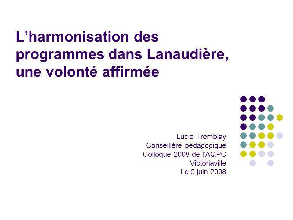 Lharmonisation des programmes dans Lanaudière, une volonté affirmée Lucie Tremblay Conseillère pédagogique Colloque 2008 de lAQPC Victoriaville Le 5 juin 2008