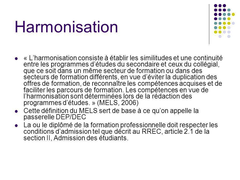 Harmonisation « Lharmonisation consiste à établir les similitudes et une continuité entre les programmes détudes du secondaire et ceux du collégial, q
