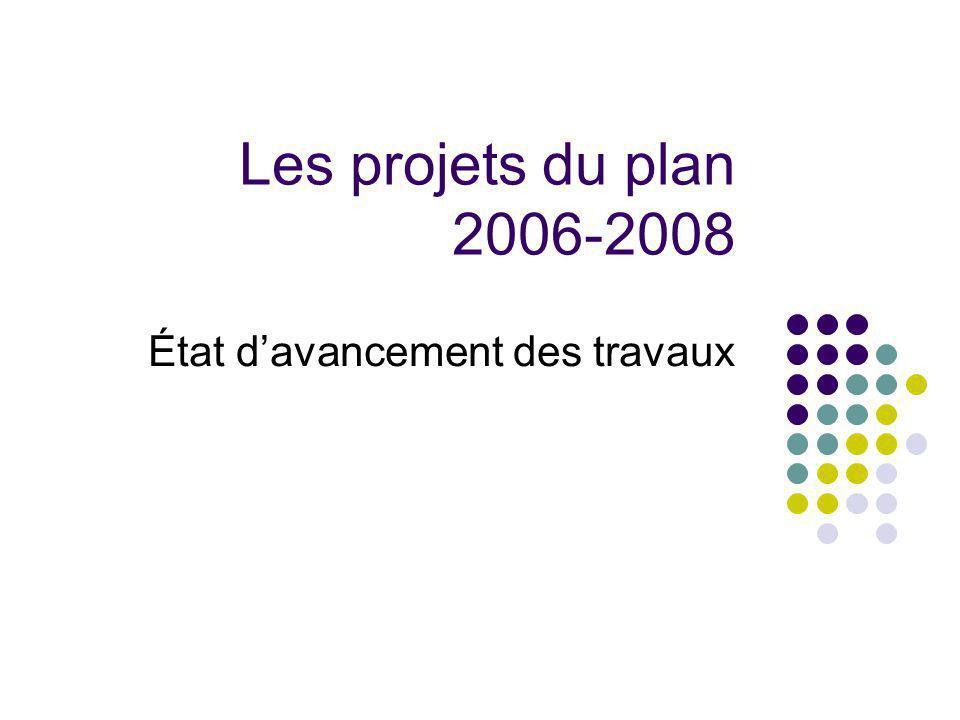 Les projets du plan 2006-2008 État davancement des travaux