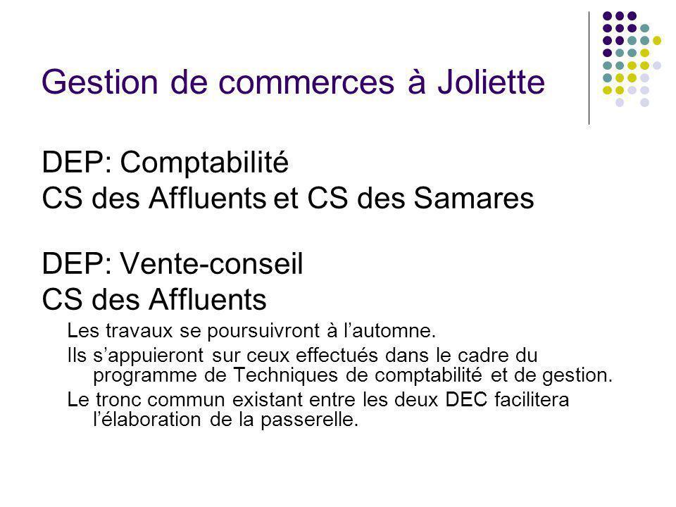 Gestion de commerces à Joliette DEP: Comptabilité CS des Affluents et CS des Samares DEP: Vente-conseil CS des Affluents Les travaux se poursuivront à lautomne.