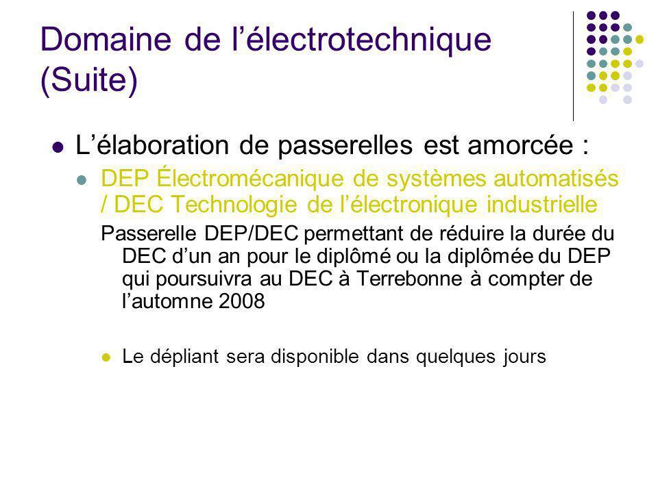 Domaine de lélectrotechnique (Suite) Lélaboration de passerelles est amorcée : DEP Électromécanique de systèmes automatisés / DEC Technologie de lélectronique industrielle Passerelle DEP/DEC permettant de réduire la durée du DEC dun an pour le diplômé ou la diplômée du DEP qui poursuivra au DEC à Terrebonne à compter de lautomne 2008 Le dépliant sera disponible dans quelques jours
