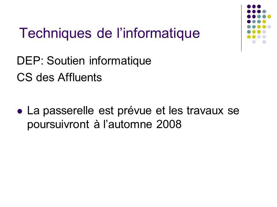 Techniques de linformatique DEP: Soutien informatique CS des Affluents La passerelle est prévue et les travaux se poursuivront à lautomne 2008