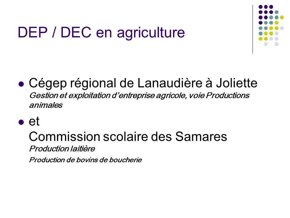DEP / DEC en agriculture Cégep régional de Lanaudière à Joliette Gestion et exploitation dentreprise agricole, voie Productions animales et Commission