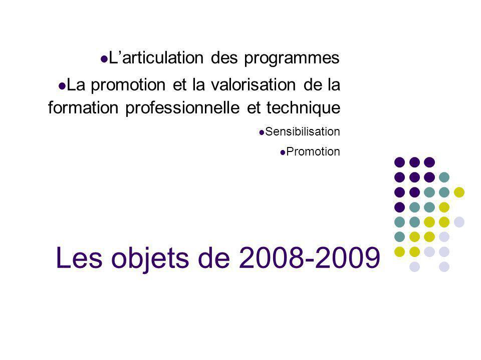 Les objets de 2008-2009 Larticulation des programmes La promotion et la valorisation de la formation professionnelle et technique Sensibilisation Prom