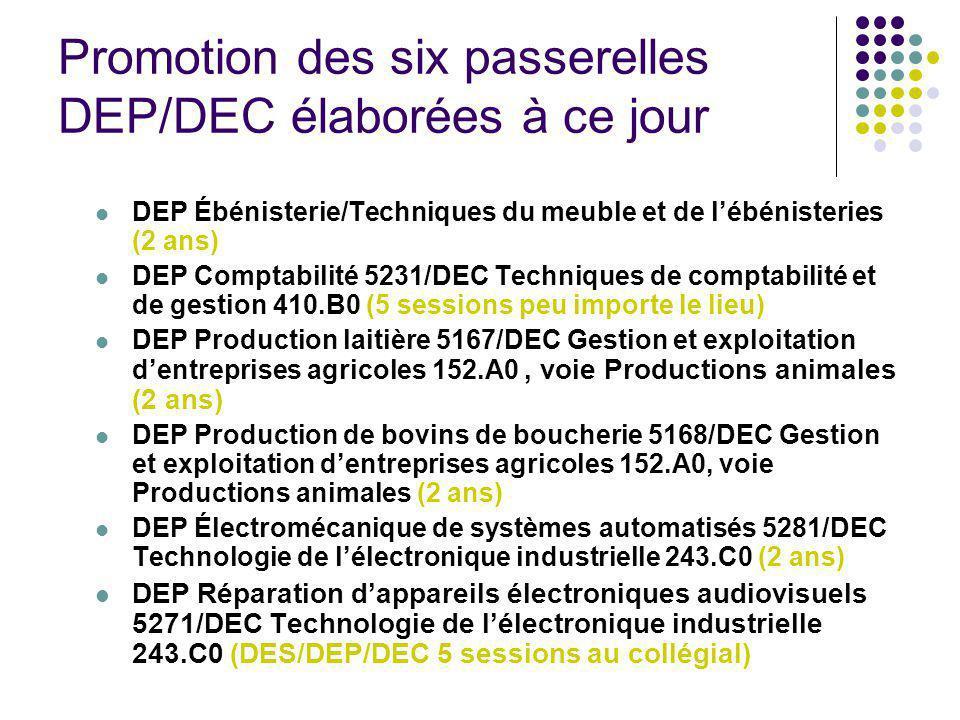Promotion des six passerelles DEP/DEC élaborées à ce jour DEP Ébénisterie/Techniques du meuble et de lébénisteries (2 ans) DEP Comptabilité 5231/DEC T