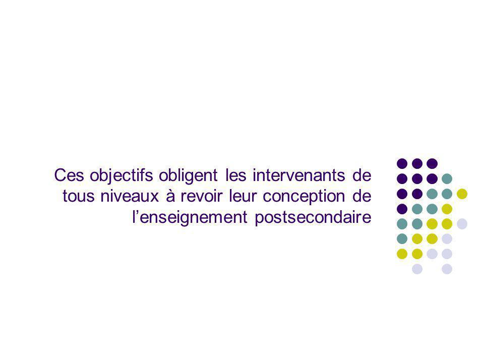 Ces objectifs obligent les intervenants de tous niveaux à revoir leur conception de lenseignement postsecondaire