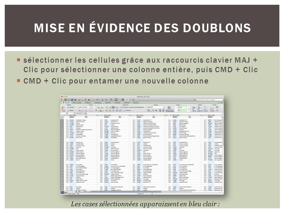 sélectionner les cellules grâce aux raccourcis clavier MAJ + Clic pour sélectionner une colonne entière, puis CMD + Clic CMD + Clic pour entamer une n