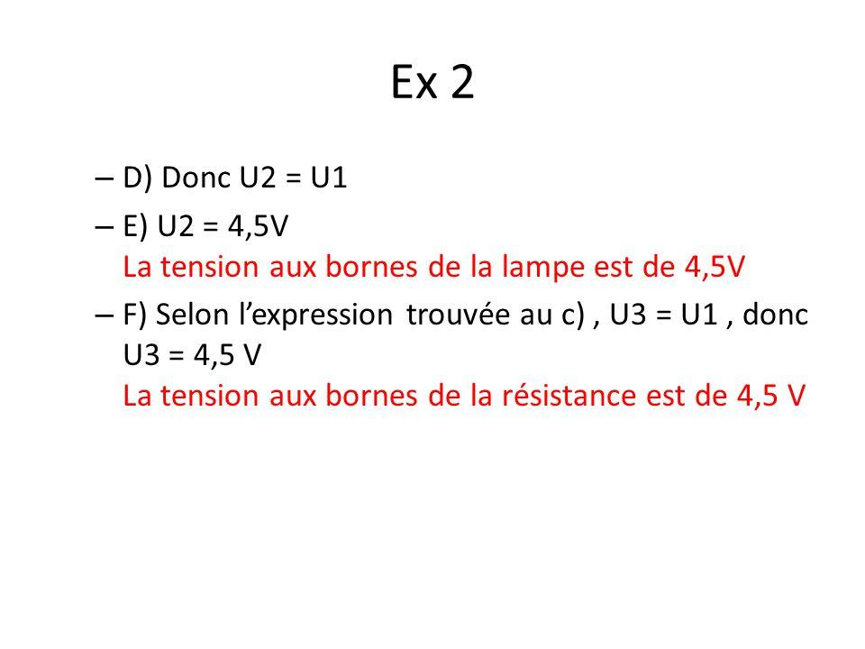 Ex 2 – D) Donc U2 = U1 – E) U2 = 4,5V La tension aux bornes de la lampe est de 4,5V – F) Selon lexpression trouvée au c), U3 = U1, donc U3 = 4,5 V La