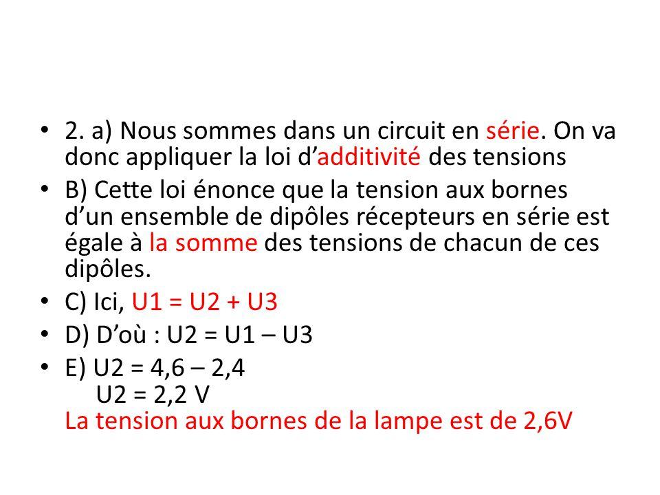 Ex.3 Pour tout lexercice, on définit : – Soit U la tension aux bornes de la pile.