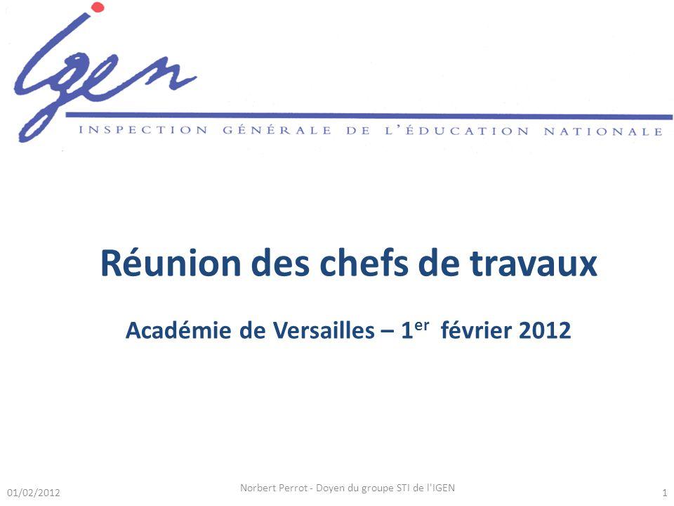 Réunion des chefs de travaux Académie de Versailles – 1 er février 2012 01/02/20121 Norbert Perrot - Doyen du groupe STI de l IGEN