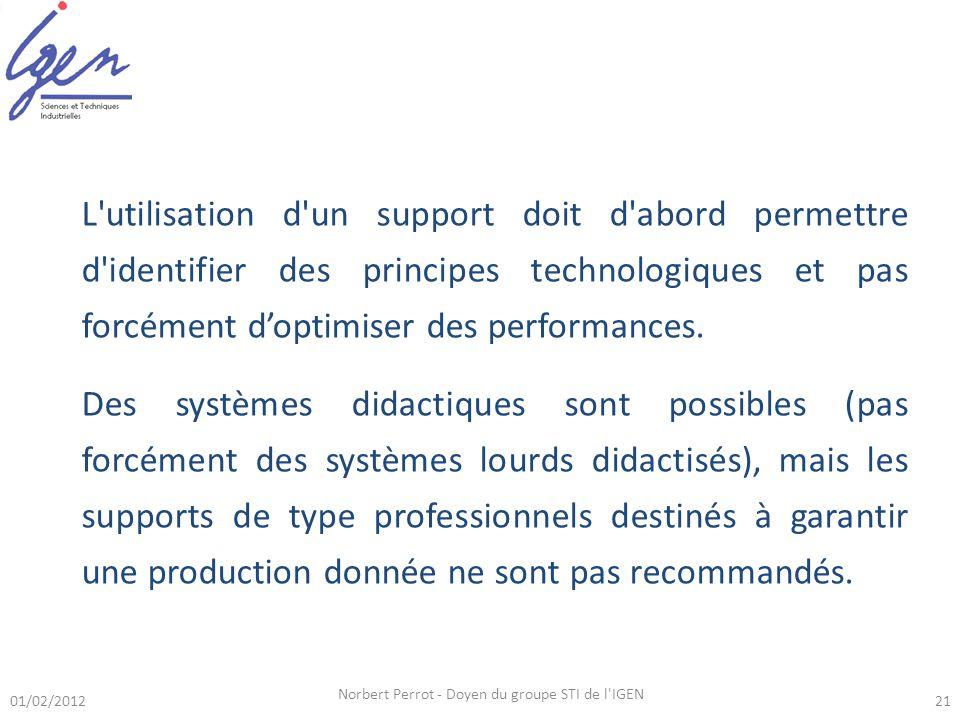 01/02/2012 Norbert Perrot - Doyen du groupe STI de l IGEN 21 L utilisation d un support doit d abord permettre d identifier des principes technologiques et pas forcément doptimiser des performances.