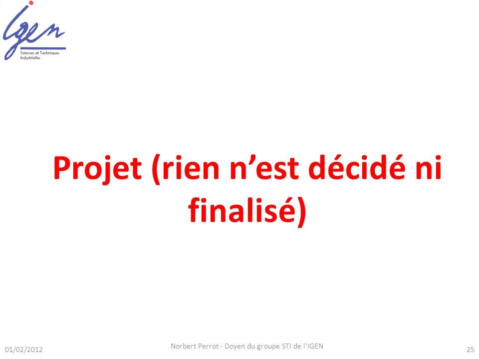 01/02/2012 Norbert Perrot - Doyen du groupe STI de l'IGEN 25 Lanalyse dun ou deux systèmes pluri-technologiques doit permettre daborder la totalité de