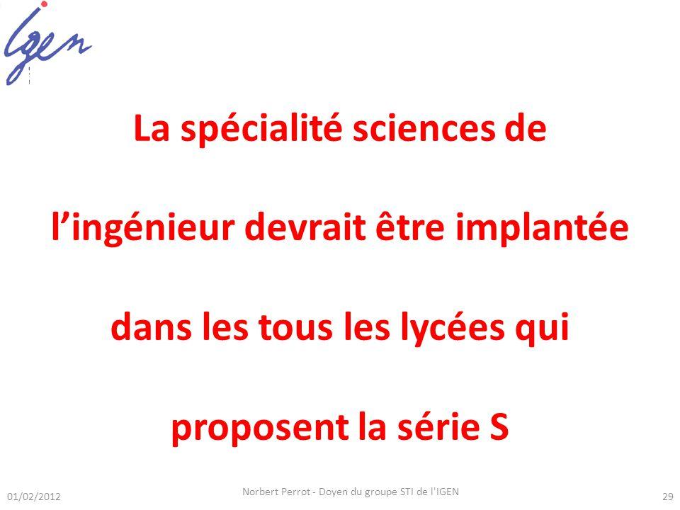 01/02/2012 Norbert Perrot - Doyen du groupe STI de l IGEN 29 Série S-SI La spécialité sciences de lingénieur devrait être implantée dans les tous les lycées qui proposent la série S