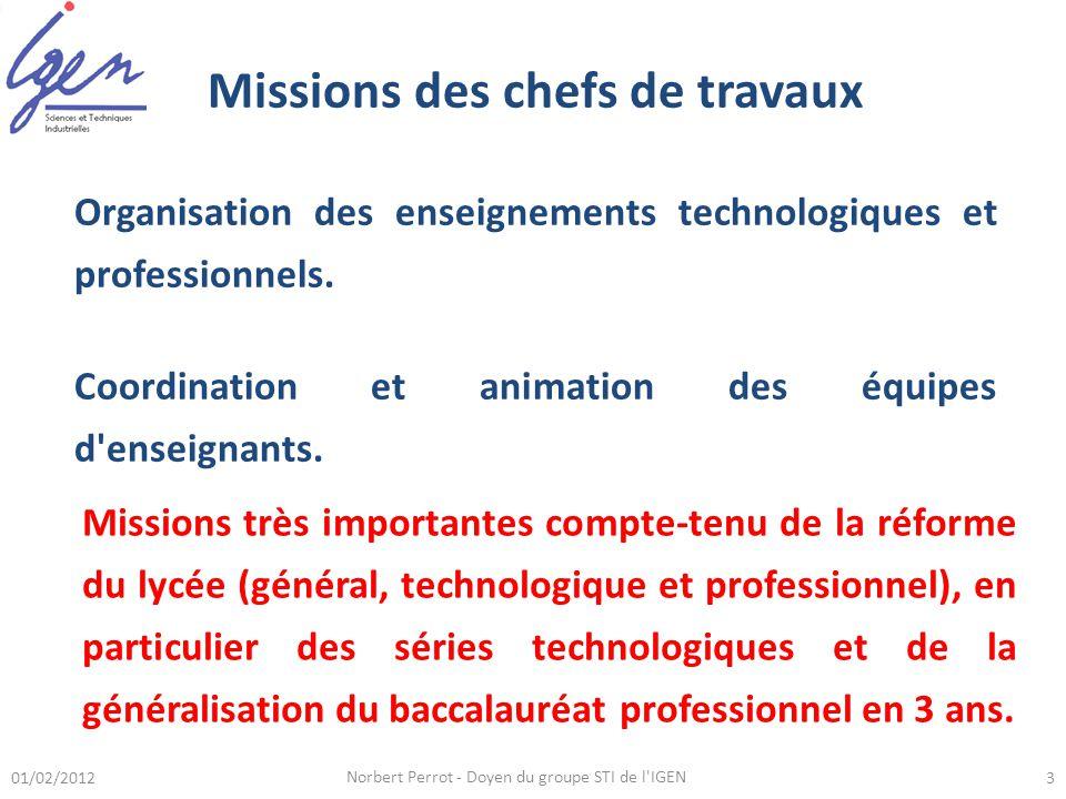 Missions des chefs de travaux Organisation des enseignements technologiques et professionnels. Coordination et animation des équipes d'enseignants. 01