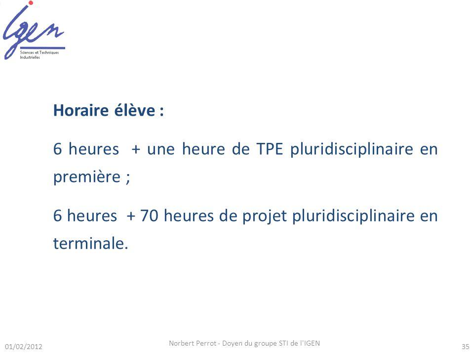 Horaire élève : 6 heures + une heure de TPE pluridisciplinaire en première ; 6 heures + 70 heures de projet pluridisciplinaire en terminale. 01/02/201