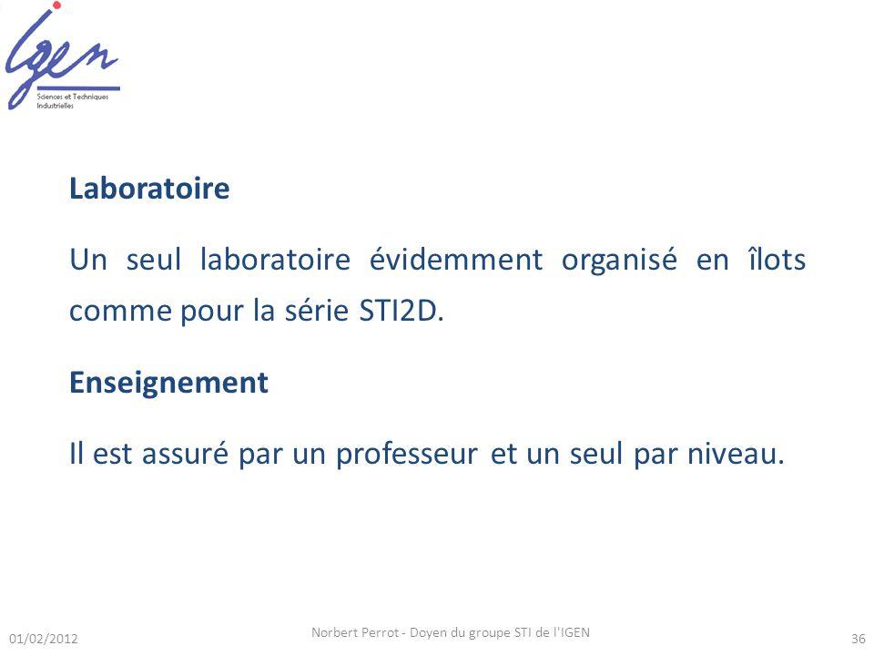 01/02/2012 Norbert Perrot - Doyen du groupe STI de l'IGEN 36 Laboratoire Un seul laboratoire évidemment organisé en îlots comme pour la série STI2D. E