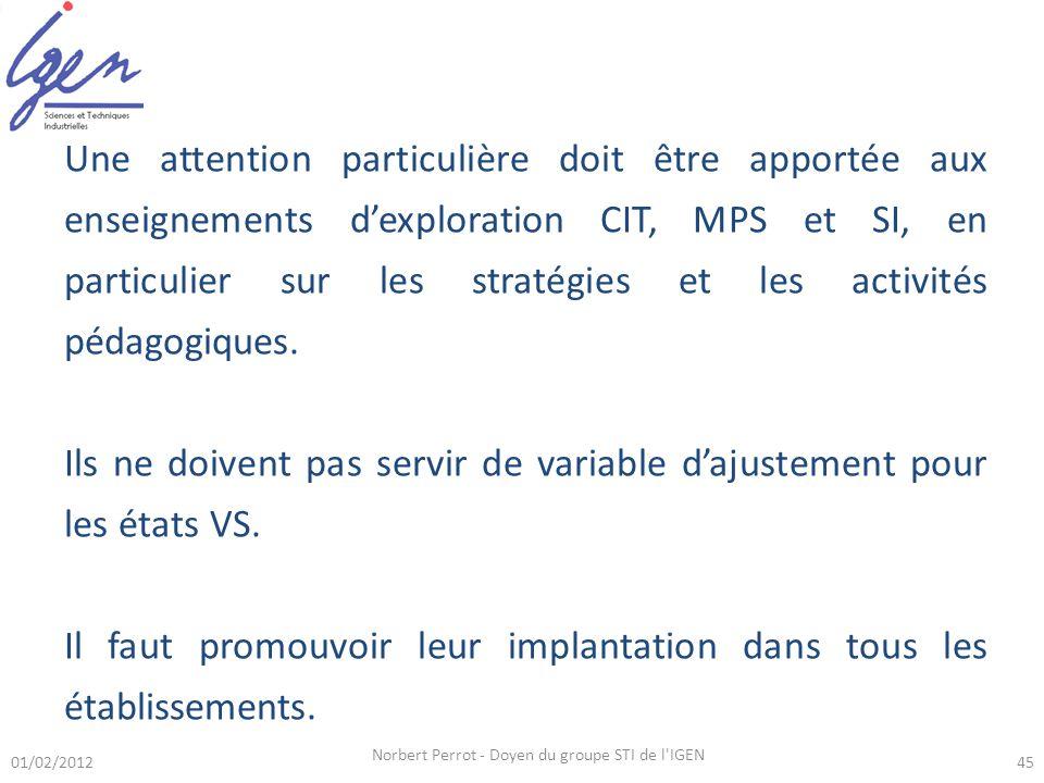 01/02/2012 Norbert Perrot - Doyen du groupe STI de l'IGEN 45 Une attention particulière doit être apportée aux enseignements dexploration CIT, MPS et