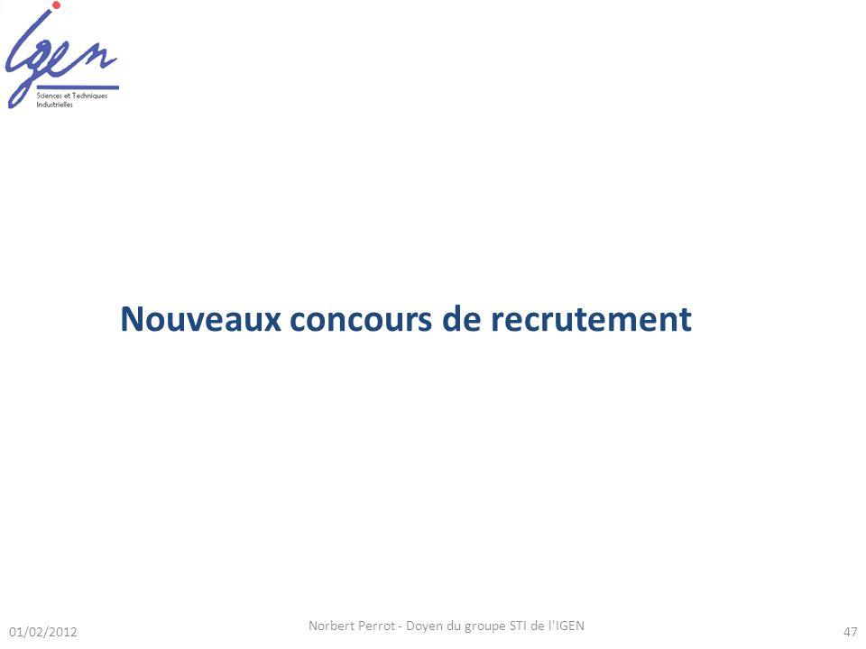 01/02/2012 Norbert Perrot - Doyen du groupe STI de l'IGEN 47 Nouveaux concours de recrutement
