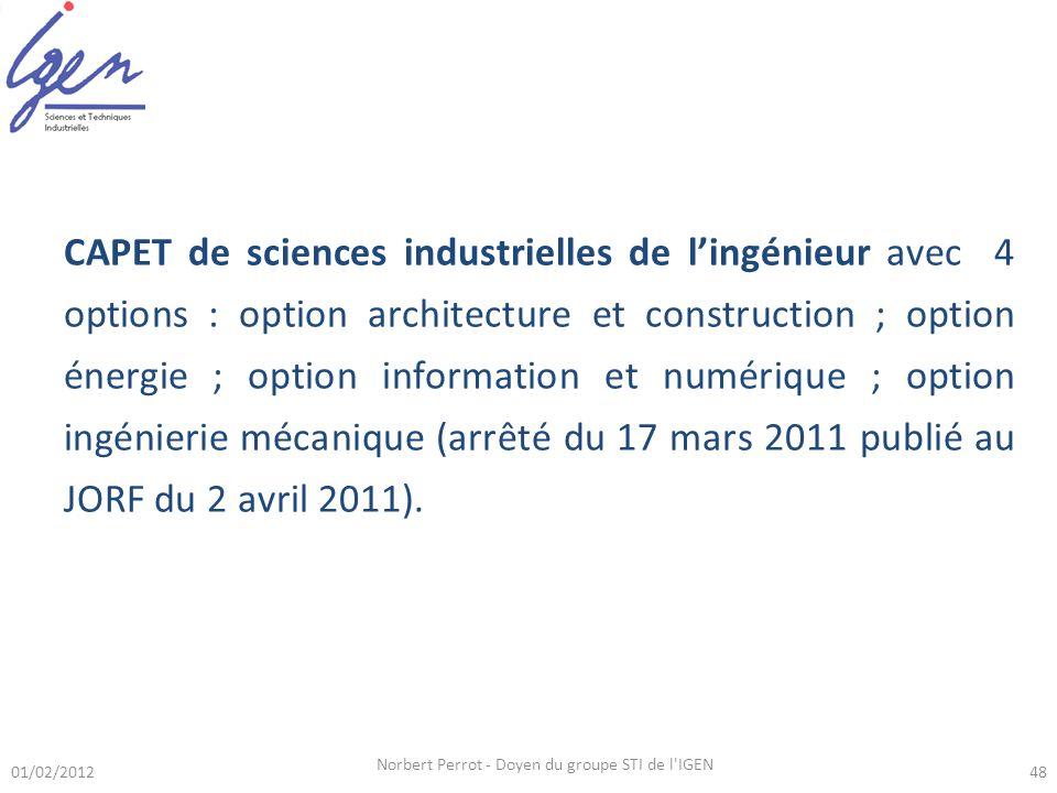 01/02/2012 Norbert Perrot - Doyen du groupe STI de l'IGEN 48 CAPET de sciences industrielles de lingénieur avec 4 options : option architecture et con