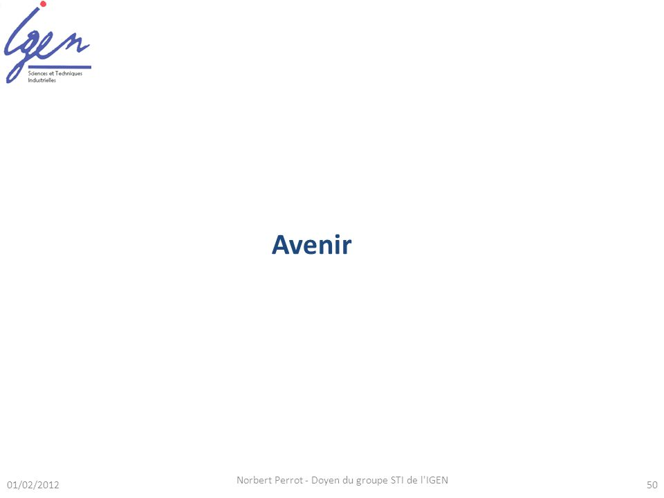01/02/2012 Norbert Perrot - Doyen du groupe STI de l IGEN 50 Avenir