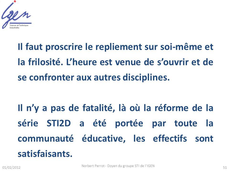 01/02/2012 Norbert Perrot - Doyen du groupe STI de l IGEN 51 Il faut proscrire le repliement sur soi-même et la frilosité.