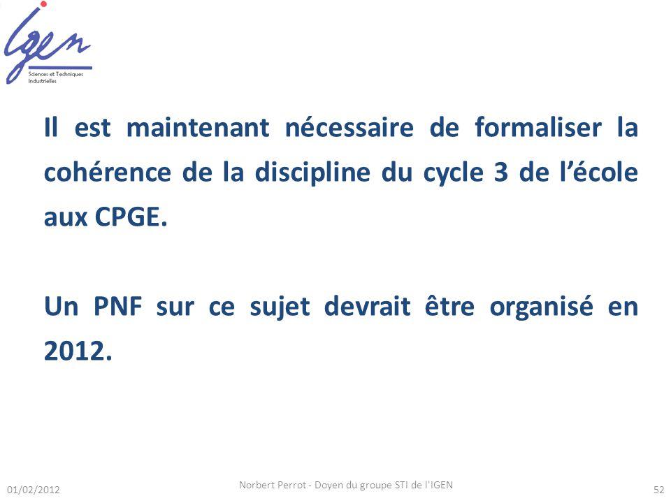 01/02/2012 Norbert Perrot - Doyen du groupe STI de l IGEN 52 Il est maintenant nécessaire de formaliser la cohérence de la discipline du cycle 3 de lécole aux CPGE.