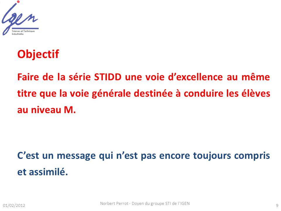 Objectif Faire de la série STIDD une voie dexcellence au même titre que la voie générale destinée à conduire les élèves au niveau M. Cest un message q